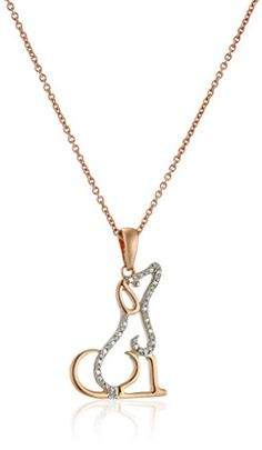 14K Rose Gold over Sterling Silver Diamond Accent Dog Pendant Necklace 18 >>> Click image for more details.(This is an Amazon affiliate link and I receive a commission for the sales)