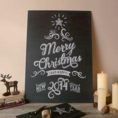Merry Christmas and Happy New Year Chalk art by SunriseKingdomShop, $34.00