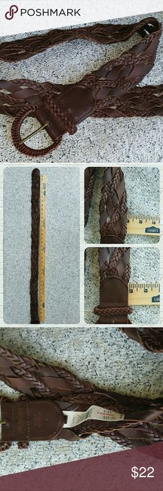 NWT Lucky Brand Braided Leather Belt NWT Lucky Brand Braided Belt. This timeless belt has a beautiful buckle and is about 2 inches wide, 100% Genuine leather size small and measures over 36 inches including the buckle. It can be worn high on waist or low on the hips. Please see pics for further details. NWT never worn excellent condition. Comes from a smoke free home  Lucky Brand Accessories Belts