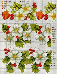 Punto croce - Schemi Gratis e Tutorial: Buon Natale con i fiori