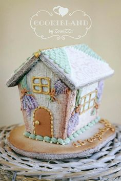 A lavender gingerbread house.  I like the textured icing.