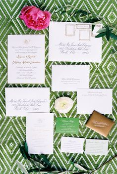 Kate Spade inspired wedding paper suite: Photography : Nancy Ray Photography Read More on SMP: http://www.stylemepretty.com/north-carolina-weddings/pinehurst-north-carolina/2016/08/11/a-classically-southern-affair-with-a-side-of-prep-sign-us-up/