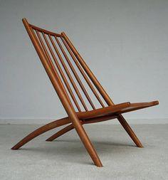 Alf Svensson; Beech Folding Chair for Bra Bohag, 1953.