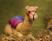 Needle Felted Sitting Camel for Nativity Set , Original design by Borbala Arvai, Made to order