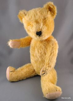 Lovely English Teddy Bear who would like to have a nice person give him some eyes 1940s Golden Mohair Plush 16 inches Jointed Excelsior Stuffing, possibly by Chiltern
