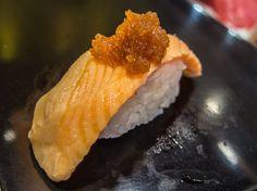 "Asakusa Magurobito 3/4 From ""Magurobito's"" menu: shabu-shabu salmon with a touch of miso -delicious! #Asakusa, #Kamiarimon, #Magurobito, #sushi, #salmon, #miso March, 14 2015 © Grigoris A. Miliaresis"