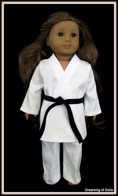 Gi Inspired Tae Kwon Do black belt uniform for AG doll.  Would be cute for when the girls test.