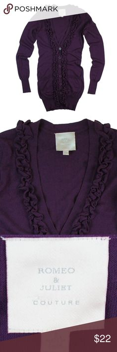"""ROMEO & JULIET Purple Ruffle Long Cardigan Sweater Excellent condition . This long purple cotton cardigan sweater from Romeo & Juliet features ruffle front detail, an extra long length, and button closures. Made of 100% cotton. Measures: Bust: 33"""", total length: 32"""", sleeves: 28"""" Romeo & Juliet Couture Sweaters Cardigans"""
