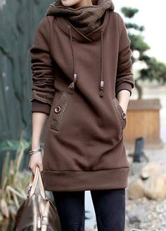 6ef475132157 Coffee Long Sleeve Patchwork Pocket Hoodie on sale only US 41.87 now