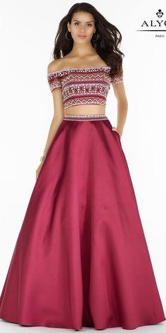 Embellished Off the Shoulder Elegant Two Piece Dress. Colors: Garnet. Size: 00-12