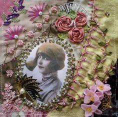 Beautiful crazy quilt block! Leslie's Fab fan DYB by Jo in NZ on Flickr