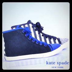 Kate Spade Lorna Sneaker 7 Kate Spade - Lorna - High-Top Sneaker in Navy and Cobalt A sporty high top in multi-media design, Kate Spade's 'Lorna' is nothing short of fun! For unexpected style, pair them with experienced denim shorts and a lazy, lacy top! Colorblock suede and striped canvas upper Grosgrain ribbon laces Canvas lining Rubber sole with Kate Spade logo at the heel Made in Italy Size 7 Worn once like New kate spade Shoes