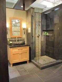 The Tile Shop: slate and pebble shower