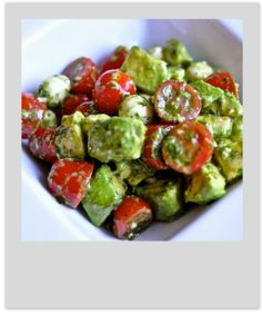 Tomato, Mozzarella and Avocado Salad. Ingredients 1 container cherry tomatoes, cut in half 1 carton fresh mozzarella cheese pearls, drained 1 avocado, peeled and diced 1/3 cup basil, julienned 2 tablespoons fresh parsley 1/4 cup lemon juice 1/4 cup olive oil salt and pepper