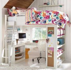 Ideas Bedroom Furniture For Teens Dream Rooms Pottery Barn For 2019 Bunk Beds With Stairs, Kids Bunk Beds, Loft Beds, Girls Bedroom Furniture, Home Decor Bedroom, Bedroom Ideas, Kids Bedroom, Girl Bedrooms, Loft Bedrooms