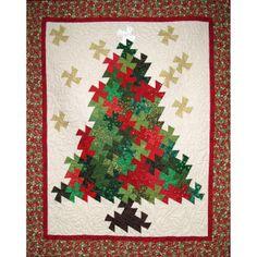 christmas tree quilt pattern in window   Christmas Tree Pinwheel Twist