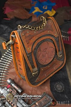 Zombie apocalypse leather steampunk bag by Atomfashion on Etsy, €357.00