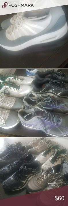 Mens Size 13 workout shoes All previously worn but TONS of life still left in them.  Quick cleaning & they're GOOD.  All Nike,  1 pair of Jordan.  $60 takes them all Jordan Shoes Sneakers