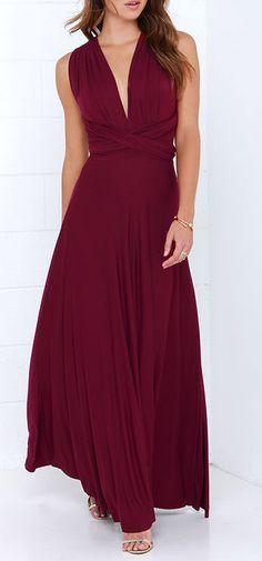 Exclusive Tricks of the Trade Burgundy Maxi Dress