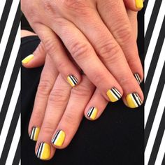 #OPIBrazil I Just Can't Cope-Acabana with Black & White Stripes. Shellac Manicure