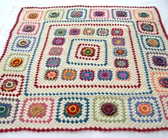MADE TO ORDER Handmade Crochet 100 % Cotton Baby Children nursery Flower blanket  / afghan granny squares 36 by 36 inch. $80.00, via Etsy.
