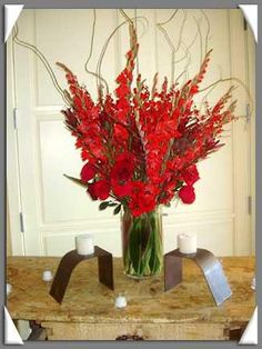church decor- gladiola arrangement- gorgeous height and color for the church! Pentecost?