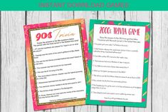 90s and 2000s trivia games - perfect for a virtual girls night, bachelorette party game or bridal shower game! Take a trip down memory lane with these fun 90s and 2000s trivia games! Print as many as you need if hosting a party or shower in person, or share your screen/email before a virtual gathering! #90strivia #2000strivia #virtualgirlsnight #girlsnightgames #bachelorettegames #bridalshowergames