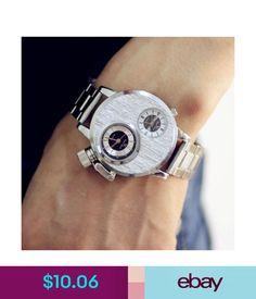 Wristwatches Steel Band Army Dual Time Zones Movement Big Dial Sports Men Party Quartz Watch #ebay #Fashion