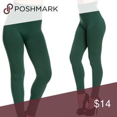 """DARK GREEN high waist fleece leggings - 14 Colors **Best Seller Restocked 2016  HIGH WAIST FLEECE LEGGINGS  Our signature fleece lined leggings are warm and super cozy. Great for layering, pair with your favorite tunic top or long sweater. Semi-opaque. Medium thickness, thick enough for fall/late winter weather. One size fits most.  •Seamless •Fleece lined •Tummy control waistband •Smooth stretchy fabric •38"""" total length 26"""" inseam •Polyester/Cotton/Spandex   Best fit suggestion: Womens…"""