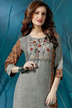 Picture of Lovely grey kurti with orange side panel