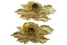 Brass Leaf Candleholders, Pair on OneKingsLane.com