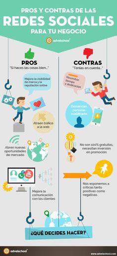 Pros y Contras de las Redes Sociales para tu empresa #infografía #infographic #SocialMedia