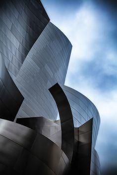 Close up on the Walt Disney Concert Hall, Los Angeles.