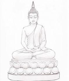 Lotus Buddha, Art Buddha, Buddha Drawing, Buddha Kunst, Buddha Painting, Buddha Tattoo Design, Buddha Tattoos, Outline Drawings, Pencil Art Drawings