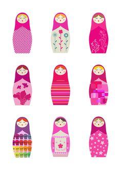 Matryoshka Russian Dolls - giclee print - fine art paper.