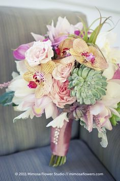 Handtied Pink Satin Ribbon with Rhinestones Bouquet of Succulent, Orchids and Roses!