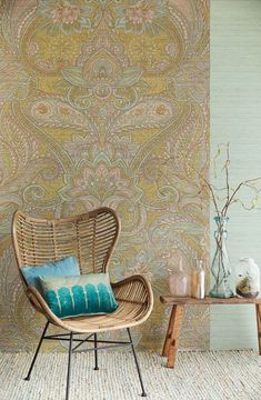 gorgeous for powder room! Exterior Design, Wallpaper, Wicker Chair, Furniture, House Colors, Dining Chairs, Wall Wallpaper, Home Decor, Interior Decorating