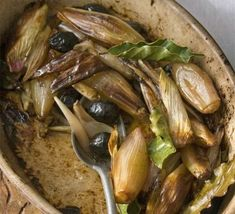 Roasted shallots with olives, bay