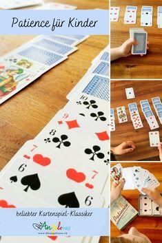 Patience bzw. Solitaire ist ein toller Spielklassiker mit Karten, den auch Kinder problemlos spielen können. Das Beste: Das Kartenspiel fördert die Geduld und die Konzentration und kann alleine gespielt werden. Wir erklären euch, nach welchen Regeln man Patience oder Solitaire spielt. #Patience #Solitaire #DieAngelones Solitaire, Patience, Playing Cards, Board Games, Media Literacy, Harp, Learn To Read, Playing Card Games, Game Cards