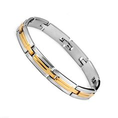 New Men's Gold Silver Bracelet leather wristband fashion gift black stainless steel from #procuffs