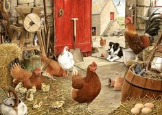 farm yard hens painting by tracy hall