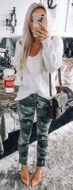 How To Style Khaki Pants White Sweater Plus Bag Plus Heels