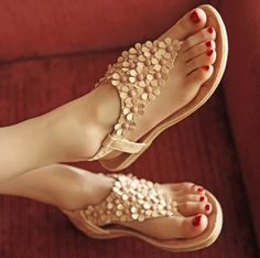 new summer massage bottom flat shoes with sweet students Bohemian female flat sandals