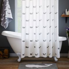 Whale Shower Curtain - Feather Gray | west elm
