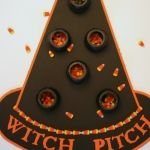 Witch Pitch throwing game candy corn activity for Halloween party