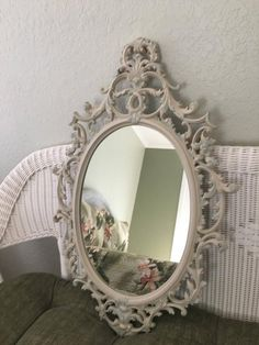 2cec914af15ab Shabby Chic Mirror Ocre Nursery Wall Hanging Mirror Oval Bathroom Vanity Mirror  Ornate Baroque Entryway Mirror