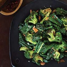 In this easy vegetable side dish, broccoli and kale are drizzled with a butter, garlic and crushed red pepper sauce.
