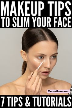 7 Tips for a Slimmer Face | If you want to know how to get a thinner face with makeup, this post has everything you need. While there are hairstyles that can help elongate your face, as well as facial exercises and jade roller techniques you can try (not to mention botox!), this post will teach you how to shape your eyebrows, how to fill in your eyebrows, how to contour your face, strobing makeup tips, how to conceal under eye bags, and how to apply brush for a thinner face! Strobing Makeup, Contouring And Highlighting, Best Makeup Tips, Best Makeup Products, Thinner Face, How To Contour Your Face, How To Apply Blush, Under Eye Bags, Facial Exercises