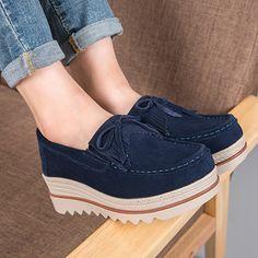 0c3ca3a6fa8b6a Comfortable Plus Size Women Moccasins Suede Tassel Flat Platform Shoes