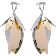 Proenza Schouler Full leaf earrings (12 670 UAH) ❤ liked on Polyvore featuring jewelry, earrings, metallic, earring jewelry, proenza schouler, leaves earrings, leaf earrings and brass earrings